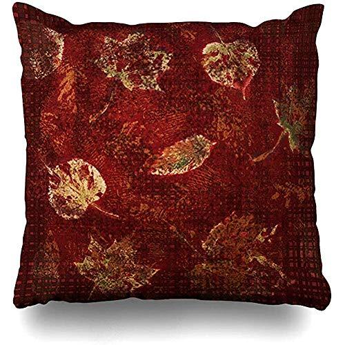 Kissenbezüge 1 Pack Green Burgu-ndy Deep Gold Herbstblätter Schablone Earthy Tartan Yellow Pillowslip Sofa Cute