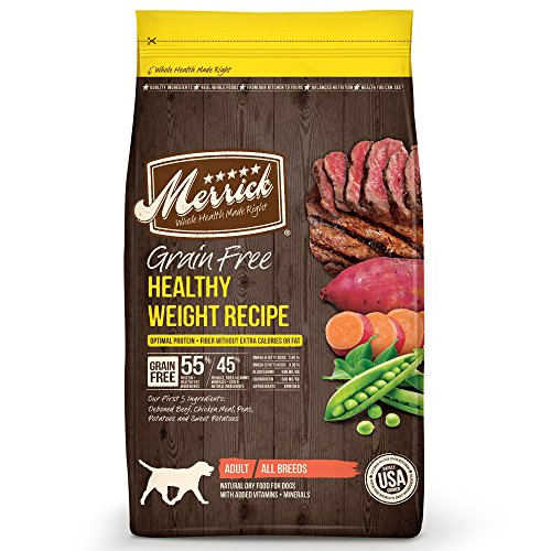 Merrick Grain Free Healthy Weight Dry Dog Food Recipes, Healthy Weight Real Beef, 4 Pound