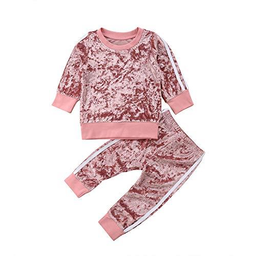 Chloefairy Baby Jogginganzug mit Langarm Sweatshirt Jogginghose Lang Samt Unisex Mädchen Jungen Sportanzug Pullover Legging Bekleidung Outfit Set für Kleinkinder Herbst Winter (Pink, 100)