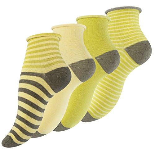 Vincent Creation 12 Paar Damen Kurzschaft Socken mit Rollrand & bunten Ringel