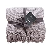 PERSUN Throw Blanket Textured Solid Soft Decorative Knitted Blankets with Fringes for Sofa Couch Home Decor, 50'x60', Silver