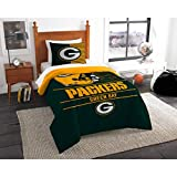 MS 2pc NFL Packers Comforter Twin Set, Team Logo Fan Merchandise Athletic Team Spirit Fan, Unisex, Green Yellow Football Themed Bedding Sports Patterned, Polyester