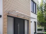 Schulte 4037563124030 Auvent Style Plus, marquise de porte d'entrée en polycarbonate transparent, INOX, 240x90 cm