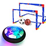 Kids Toys, Hover Soccer Ball Set with 2 Goals, Rechargeable Air Soccer with LED Light and Foam Bumper Indoor Projector Floating Ball Games Gift for 3 4 5 6 7 8-12 Years Old Boy Toddler(Newest Version)