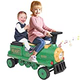 Kidsclub Ride on Train, 12V Electric Train 2 Seater Ride on Toy for Kids, Track-Less Motorized Train with Light, Music & Bluetooth, Birthday Gift for Boys Girls Toddlers - Green Train