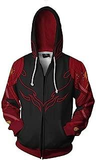 Unisex Anime Cosplay 3D Pullover Print Hooded Sweatshirt Iron Fist Zipper S-3XL