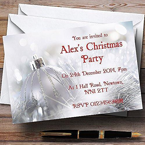 40% de descuento Personalizable Personalizable Personalizable de bolas de plata Navidad invitaciones para fiesta XI38  perfecto