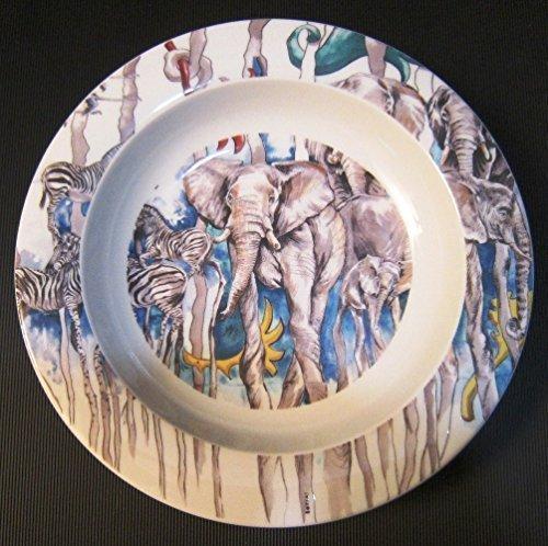 Kundini BOPLA Porzellan Safari blau tiefer Teller Suppenteller oder Schale Brötchenschale Salatschale ASSIETTE CREUSE - PIATTO FONDO - DEEP PLATE - PLATO HONDO Durchmesser Ø 22 cm, 8-5/8 in