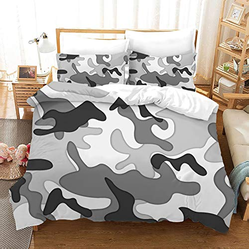 QXbecky 3D Camouflage Style red, Green and Blue Camouflage Bedding Soft Microfiber Quilt Cover Pillowcase 3-Piece Set ofTwin beds
