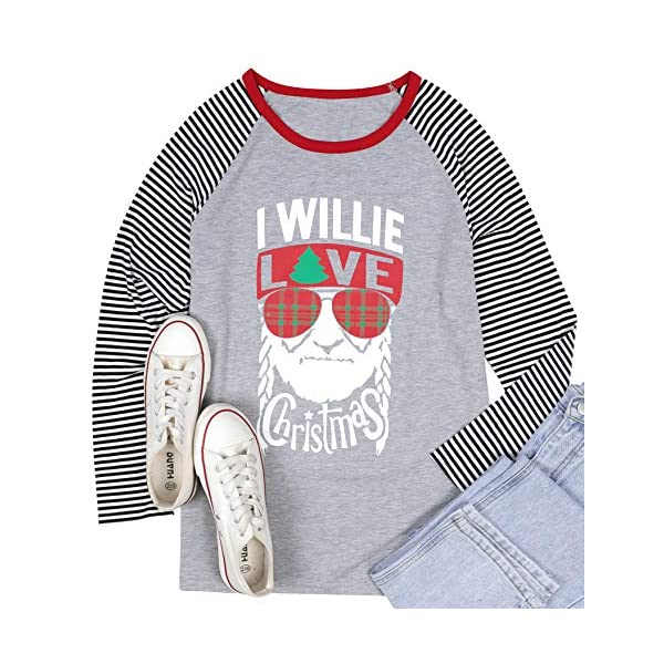 Cute Christmas Long Sleeve Shirt Women I Willie Love Christmas Pullover Shirt Casual...