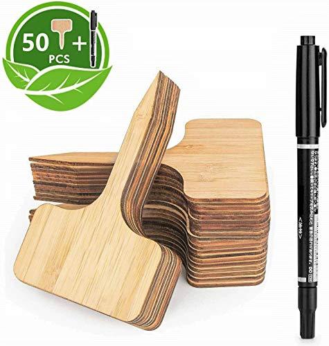 LATERN 50Stk Pflanzschilder Bambus, T-Form Pflanzenstecker Beschriften Stecketiketten und Marker Pen für Baumschulen Pflanzenzucht Zierpflanzen