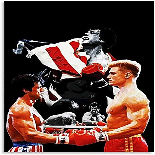 DCPPCPD Mural con Estampado De Arte 60 * 90cm Sin Marco Carteles de decoración de Dormitorio Familiar Moderno con impresión de Imagen de campeón de Boxeo Rocky IV de película Deportiva Americana
