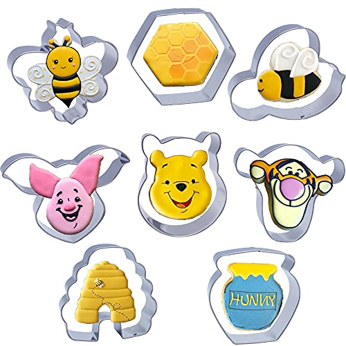 Lokie Bee Cookie Cutters Winnie the Pooh Stainless Steel Cookie Molds 8PCS Set with Bees,Pooh Bear,Tiger,Piglet,Beehive,Honeycomb,Honey Jar, for Kids Birthday,Baby Shower