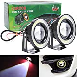 TABEN 3200LM High Power 3.5' Projector Universal White LED Fog Light COB Red Halo Angel Eye Rings DRL Driving Bulbs DC 12V