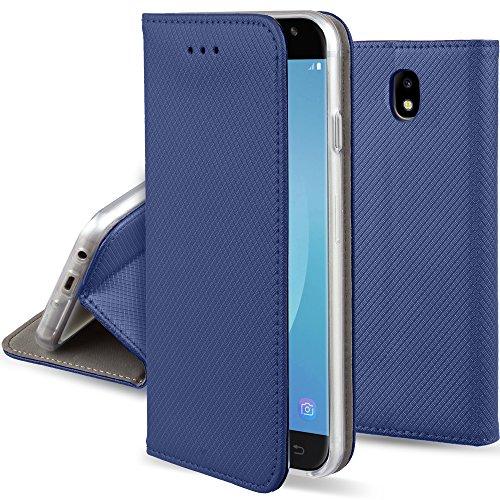 Moozy Cover per Samsung J5 2017, Blu Scuro - Custodia a Libro Flip Smart Magnetica con Appoggio e Porta Carte