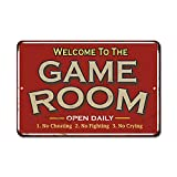 Game Room Sign Rustic Wall Décor Gameroom Signs Home Vintage Decorations Games Arcade Retro Video Gamer Art Accessories Gaming Billiards Cards Tin Plaque Gift 12 x 18 Matte Finish Metal 112180068018