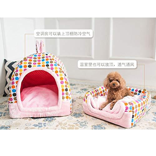 LY CROWM 2-in-1-Bett für Haustiere, tragbar und zusammenklappbar, elegant und komfortabel, für Katzen und Hunde im Innenbereich,Rosa,L