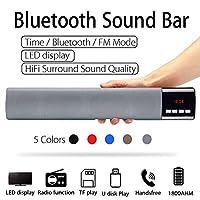 ホームテレビPC Bluetoothサウンドバー、ポータブルワイヤレスサブウーファー3DサラウンドスピーカーHifiサポートFMラジオクロックTF USB,グレー