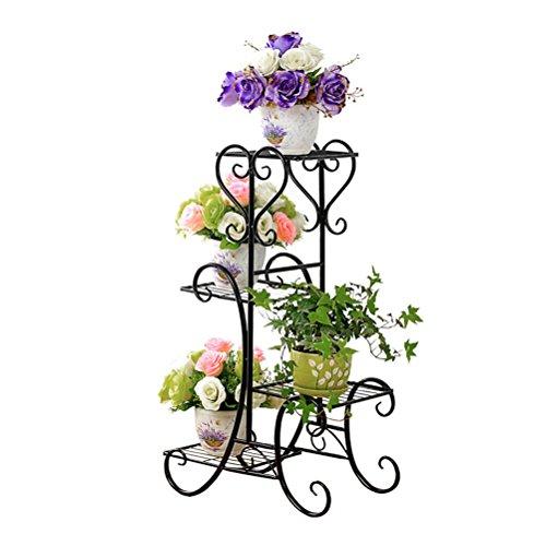 Bestonzon Metall-Eckregal, Pflanzenständer, 4 Ebenen, Blumentopf-Regal, Pflanzrahmen, Balkon, Innen- und Außenbereich