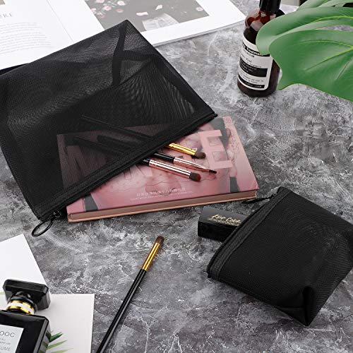 Beauty tools | 3 Pieces Mesh Cosmetic Bag Mesh Makeup Bags Black Mesh Zipper Pouch for Offices Travel Accessories, 3 Sizes, Gym exercise ab workouts - shap2.com