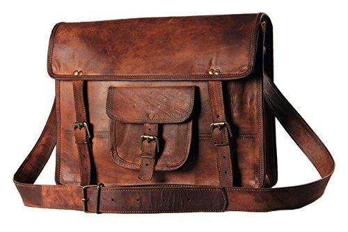 Handmadecart - Bolsa bandolera de mensajero, de cuero, para hombres y mujeres, bolso de hombro, portátil, maletín