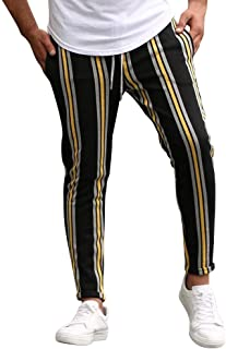 waitFOR Men Stripe Print Slim Fit Sports Trousers Stretch Cargo Trousers Drawstring Elastic Waist Long Pants for Men Track...