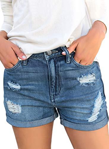 luvamia Women's Ripped Denim Jean Shorts Mid Rise Stretchy Folded Hem Short Jeans E Blue Size X-Large