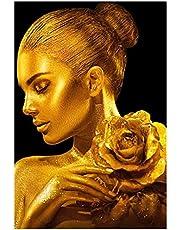 Piel dorada Mujer con lienzo rosa Pinturas en la pared Carteles e impresiones artísticas Joyas doradas Pared para sala de estar-50x80cm Sin marco