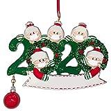 TOYANDONA Weihnachtsbaumschmuck 2020 Familien Schneemann Figur mit Mundschutz Name Beschreibbar Christbaumschmuck Christbaumanhänger Weihnachtsbaum Anhänger Xmas Deko