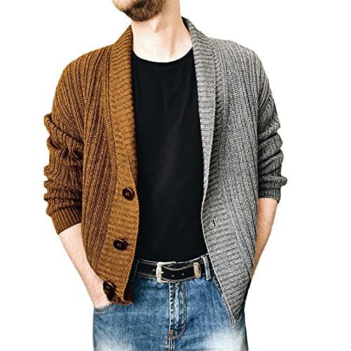 AOCRD Jersey de manga larga para hombre, de punto con botones, corte regular, para otoño e invierno, marrón, XL