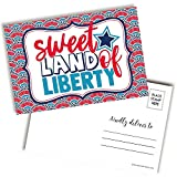 Sweet Land Of Liberty Happy 4th of July Independence Day Themed Blank Postcards To Send To Friends & Family, 4'x6' Fill In Notecards by AmandaCreation (100)