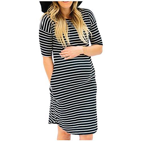 Vuncio Vestido de maternidad para mujer, verano, tallas grandes, manga corta, Midi, moda premamá, para el tiempo libre, vestido largo, elegante, a rayas, informal, vestido de playa Negro S