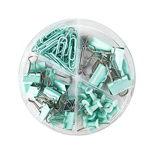 YRA Set de 72 piezas de suministros de oficina, incluyendo soporte para boletos, clips de papel, alfileres, organizador de accesorios de escritorio escolar con caja para oficina en casa, escuela