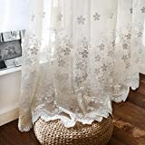 1 Panel Romantic Sheers White Floral Sheer Curtain Lace Bottom Sheer Tulle Voile Rod Pocket Window Panels for Living Room Balcony Elegant Door Drape Room Decoration W55 inch X L63 inch