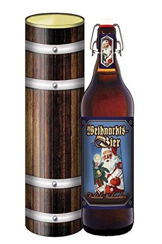 Weihnachts Bier 1 Liter Flasche PIls mit Bügelverschluss in Geschenke Dose Holzdesign