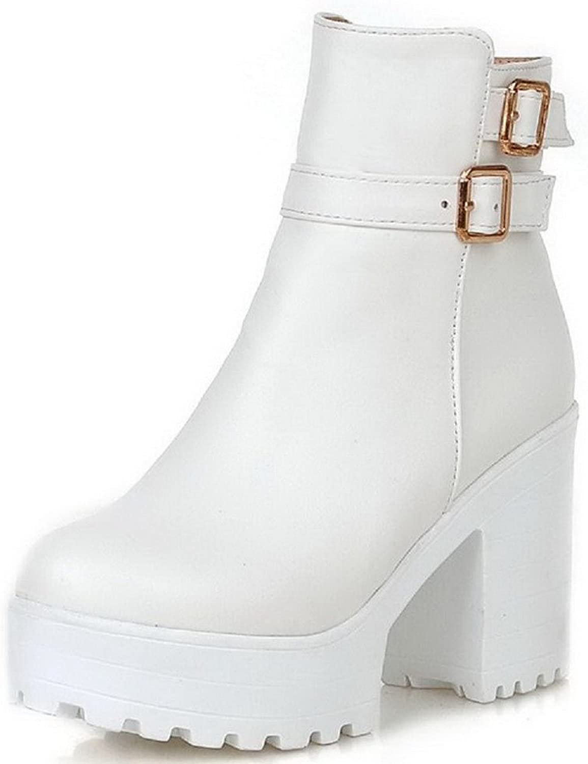 AmoonyFashion Women's Low Top Zipper Soft Material High-Heels Round Closed Toe Boots