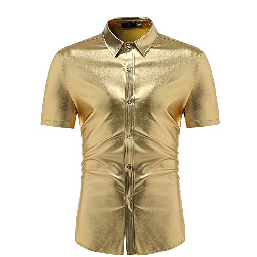 Yowablo Hemd Bluse Herren Pailletten Tops Herrenmode Slim Fit Kurzarm Solide Muscle Tee T-Shirt Lässig (XL,Gold)
