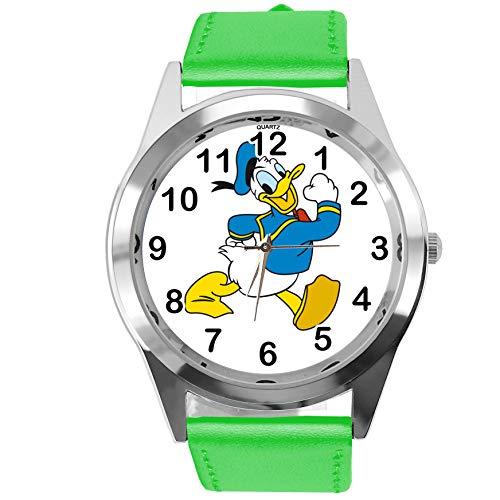 TAPORT® Horloge Analoog Kwarts met Echt Lederen Band Groen Rond voor Fan van Donald Eend