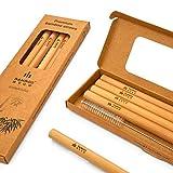 Juego de 5 pajitas de bambú – Calidad de lujo: 5 pajitas reutilizables de 20 cm de la línea Signature by Bamboo Step y un cepillo de limpieza en una caja de papel kraft. (Tamaño del batido: 11 mm)
