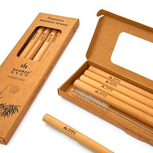 Bamboo Step - Kit di 5 cannucce in bambù di qualità e 1 scovolino in scatola di carta kraft (diametro medio: 9 mm)