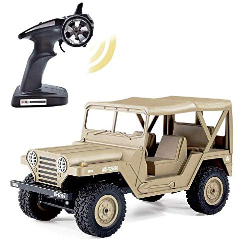 AIOJY Militare veicolo for RC1 / 14 Full Size 4 RM Off-road arrampicata Truck 2.4 G Radio militare Remote Control 9.3 Mph for bambini ad alta velocità su cingoli della roccia for adulti selezione migl