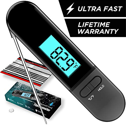 Fleischthermometer Digital, MinSoHi Wasserdichtes Grillthermometer mit Kalibrierung, automatisch drehbarem, heller Hintergrundbeleuchtung, Sofortiges Auslesen Kochthermometer für BBQ,Milch,Süßigkeiten