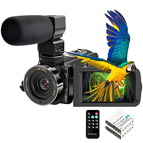 """Video Camera Camcorder FHD 1080P 30FPS 26MP YouTube Vlogging Camera IR Night Vision WiFi 3.0"""" Touch Screen 16X Digital Zoom Digital Camera Video Recorder with Microphone Remote Control"""