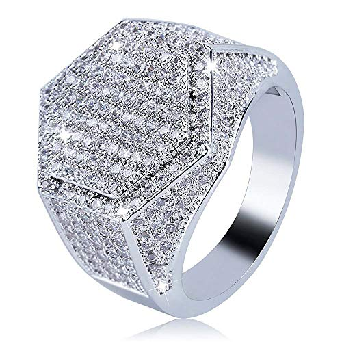 Yoaa Stylish Hip hop Ring Bling Punk Ring for Men Men's Large Iced Out Wide Pave Cz Band Ring Pinky Ring