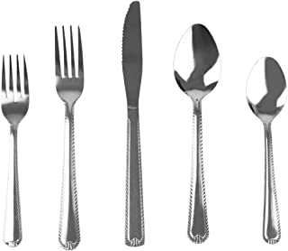 Home Basics FS45238, E Empire 20 Piece Stainless Steel Silverware Flatware Cutlery Dinner Set, Elegant Mirrored Finish Utensils Service for 4 Includes Knife/Fork, Silver