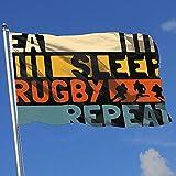Elaine-Shop Banderas al Aire Libre Comer Dormir Rugby Repetir 4 * 6 Ft Bandera para la decoración del hogar Aficionado a los Deportes Fútbol Baloncesto Béisbol Hockey
