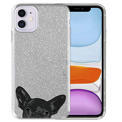 FINCIBO Case Compatible with Apple iPhone 11 6.1 inch 2019, Shiny Sparkling Silver Bling Glitter TPU Protector Cover Case for iPhone 11 (NOT FIT 11 Pro) - French Bulldog Puppy Dog Black