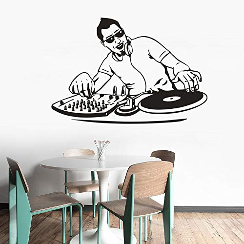 DJ Mixer Player Wandaufkleber Nachtclub Dekoration DJ Rock Music Player Vinyl Wandtattoo Coole Männer Wandplakat Home Art Dekoration Wandaufkleber A4 84x57cm