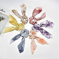 6パック髪のエラスティックボウシュシュサテングラデーションストライプ状のストライプポニーテールヘアリング エラスティックポニーテールホルダー (Color : Photo Color, Size : M)