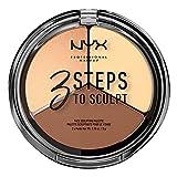 NYX Professional Makeup Palette Sculpting Viso 3 Steps to Sculpt, Palette Contouring, Illuminante e Blush, Nuance: Light